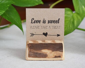 Wedding table card holder, rustic wedding table number holder, name tag holder, custom note card holder, rustic table setting, Love is sweet
