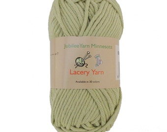 Lacery Yarn 100g - 2 Skeins - 100% Cotton - Celedon Green - Color 006
