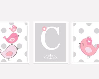 Nursery Art Trio, Nursery Bird Art, pink and grey nursery, Set of 3 8x10