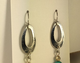 Silver Oval Hoop with Turquoise Howlite Bead