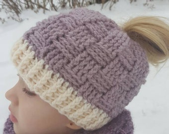 Crochet Basket Weave Messy Bun/Ponytail Hat