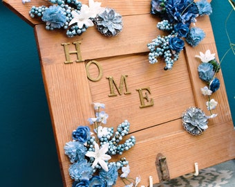 """Repurposed Cabinet Door 'Home"""" sign"""