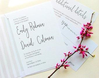 Calligraphy Wedding Invitation, Simple Wedding Invitations, Modern Invitations, Black and White Wedding Invites