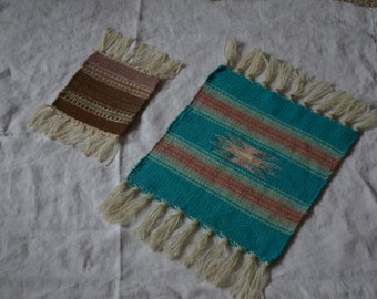 Vintage Mexican Textiles---Ethnic Hand-Woven Wool Mat & Coaster---From 1988