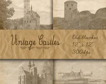 SALE - Vintage Castles Digital Papers - Castle Pictures -  Castle Backgrounds - 16 Designs - 12in x 12in - Commercial Use - INSTANT DOWNLOAD