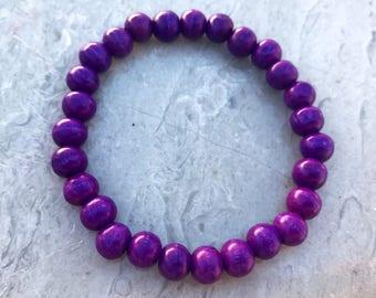 Simple Purple Wood Bracelet