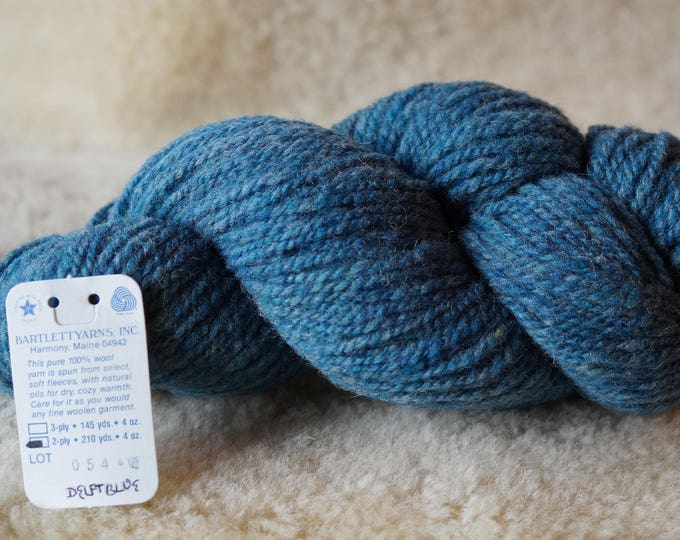 worsted weight: DELFT BLUE 2 ply worsted weight mule spun wool yarn sale from Bartlettyarns