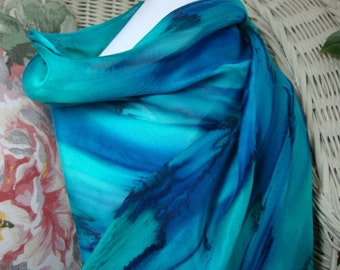 Scarf, Silk, Women, Hand Painted, Deep Ocean Blue with Teal Silk Scarf