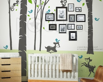 Fantasy Woodland Tree Wall Decal, squirrel, Nursery, fawn Wall Decal Wall Sticker Art, Wall Graphic 106