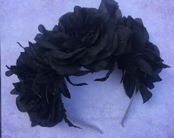 Goth Headband, Goth Flower Crown, Black Flower Crown, Black Hair Flower, Black Rose, Christmas Headband, Alternative Lifestyle, Cosplay,