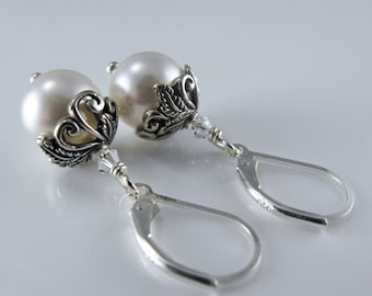 Botanical Romance Earrings - White Swarovski Crystal Pearls, Sterling Silver