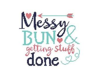 Messy Bun & Getting Stuff Done Counted Cross Stitch PDF Pattern