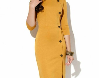 Mustard jersey dress Office yellow dress Autumn dress Spring dress Business woman clothes Casual clothing for women Mustard Yellow dress