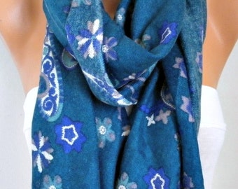 Mother's gift,Teal Paisley Scarf ,Shawl,Cowl Scarf Bridesmaid Gift,Birthday Gift, Gift Ideas For Her Women Fashion Accessories
