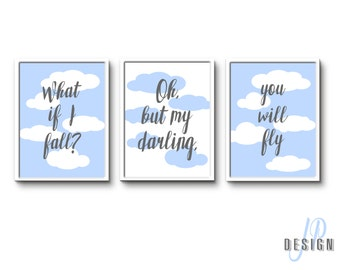 What if I fall? Oh my darling what if you fly?, Motivational Sign, Home Decor, Personalise sky theme up in the air