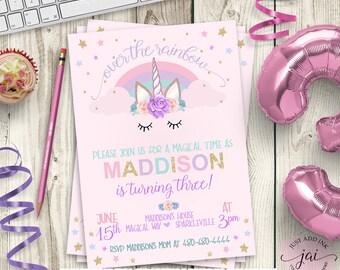 Unicorn Birthday Invitation, Unicorn Party Invitation, Rainbow Birthday Invitation, Unicorn Birthday, Watercolor Unicorn Invite PRINTABLE