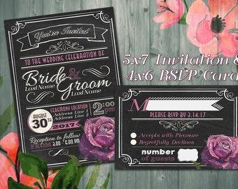 5x7 Chalkboard Wedding Invitation -- DIGITAL PRODUCT / Printable Wedding Invite / Pink Rose / RSVP / Response Card / Chalk