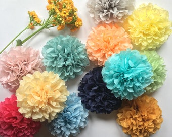 MINI POMPOMS custom colors napkin tie ring holder paper pouf flower centerpiece wedding decorations chair aisle marker first birthday party