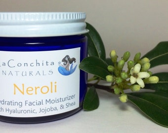 Neroli (All Natural Orange Blossom) Face Cream, Organic Ingredients, Luxurious Aromatherapy Facial Moisturizer with Hyaluronic, No Parabens
