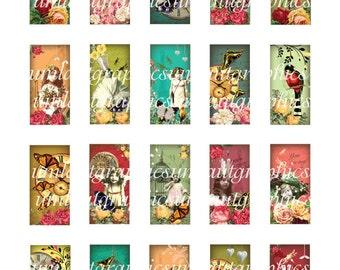 1 x 2 Inch Digital Collage Sheet Vintage Angel Clock Roses Birds