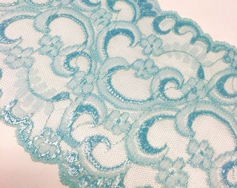 "7"" (Approximate) Wide Sky Baby Floral Pattern Lace by Yard"