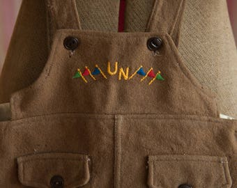Vintage Boys Shorts - Novelty United Nations Flags Wool Coveralls Overalls Jumper