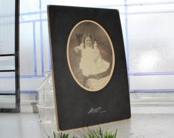 Antique Photograph Cabinet Card Young Girl 9 x 6