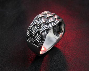 wide ring, braided ring for men, men's ring, wide band, knot jewelry, ethnic ring, Celtic ring men, silver knot ring, gift for boyfriend