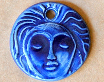 Meditation Face Ceramic Bead in Blue - Pendant Bead with Extra Large Hole