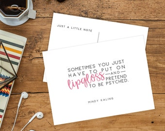 Mindy Kaling Postcards | Funny Mindy Quotes | Mindy Lahiri & the Mindy Project Note Cards | Pack of 5 or 10 Quote Postcards to Mail