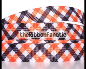 "5 yds 7/8"" Black and Orange Plaid Grosgrain Ribbon"