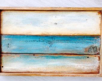 Reclaimed wood wall art, seascape horizon, teal ocean and sky, distressed on wood,pallet wood art,barn wood art,hand painted wall art,art.