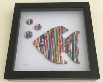 Fisch-Wandkunst, Fisch-Liebhaber Geschenk, farbenfrohe Kunst, Schaukasten Wandkunst, Kinderzimmer Dekoration, Geschenk, Raum, Dekoration, Textur, auffällige