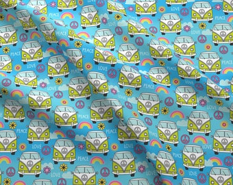 Peace And Love Van Fabric - Peace And Love Camper Vans By Lilcubby - Peace And Love Camper Vans Cotton Fabric By The Yard With Spoonflower