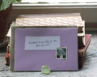 It matters not how long you live but how well Lilac card with handwritten quote and Swedish postal stamp