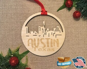 Austin Texas Ornament *** Skyline Christmas Holiday Ornament *** TX