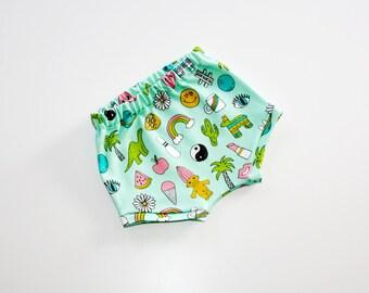 Baby Shorts, Toddler shorts, girls shorts, boys shorts, organic cotton, organic baby clothes, summer shorts, baby shower gift, 90s nostalgia