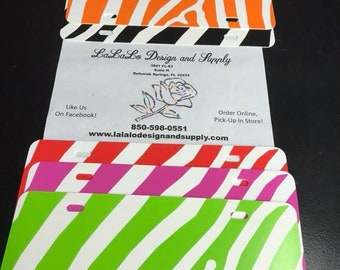 Zebra License Plate Blanks! Five Colors, Make Your Own, Vinyl!