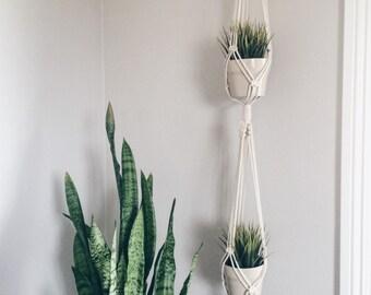 Double Macrame Plant Hanger / Indoor Plant Hanger / Hanging Planter