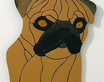 Wood Sculpture, Pug Dog, Pet Memorial, Animal, Wall Art, Intasrsia