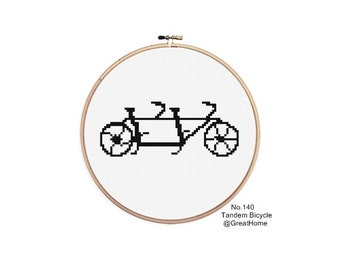 Tandem Bicycle, Cross Stitch Chart, PDF Instant Download, No. 140, Beginner Level