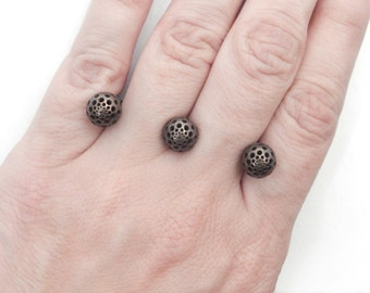 """Three Seeds """"Pierced Fingers"""" Ring (Steel/Bronze/Gold Finishes)"""