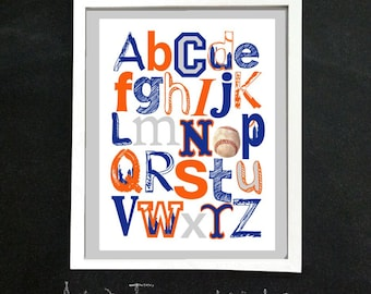 NY METS baseball ABC Nursery Art Print