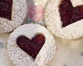 Raspberry-Almond Linzer Cookies