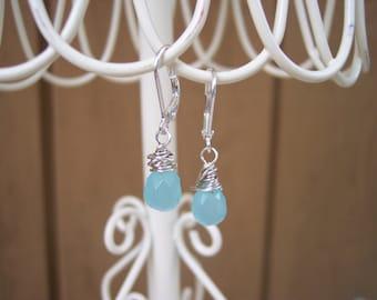 Blue Crystal Briolette Leverback Earrings