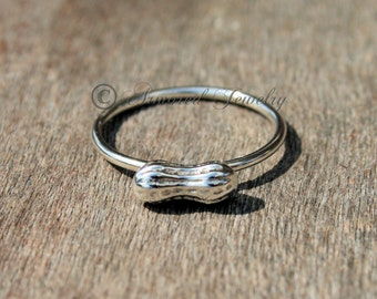 Tiny Peanut Ring, Sterling Silver ring, stacker stackable stack stacking, dainty simple ring, peanuts, custom jewelry, personalized rings