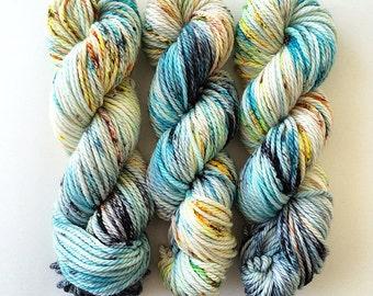 Dusk, bulky yarn, hand dyed yarn, indie dyed yarn, speckled yarn, wool