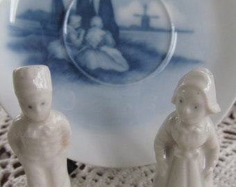 Rare Creepy Blue Eyes Frozen Charlotte Dutch Girl and Boy Delft Pottery Blue and White Decor Blue Delft Decor White Porcelain Dolls Holland