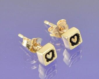 Heart Within. 9k Yellow Gold Earrings.