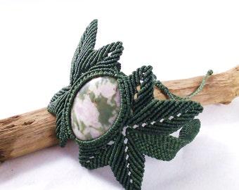 Leafy Lepidolite Macramé Bracelet